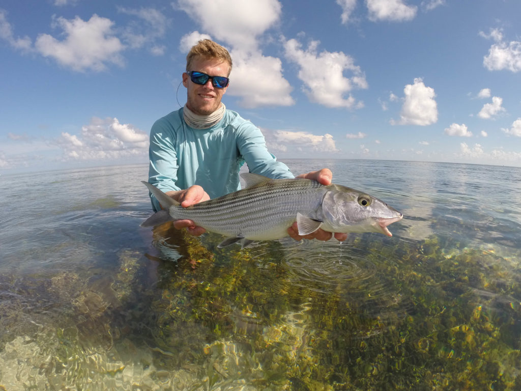 angler Shawn Hamilton holds his first bonefish. He caught is while sight fishing on the flats in the lower keys