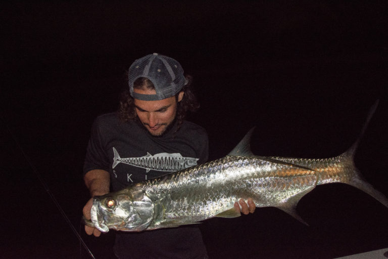 an angler looks down in admiration at a tarpon caught at night with the flash from the camera shining off of the fishes silver scales.
