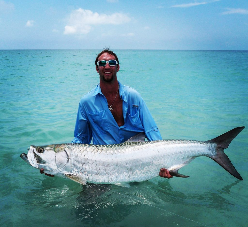 Captian Nick holding a big tarpon in waist deep water.