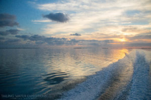 The sun comes up as we set off to go fishing here in the beautiful Florida Keys.