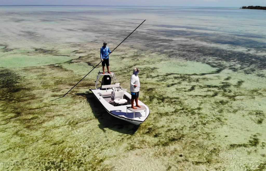 Capt. Nick LaBadie is poling his East Cape Skiff (EVO) on the beautiful Florida Keys flats